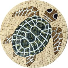 Medallion Marble Art - Green Turtle Mosaic | Mozaico