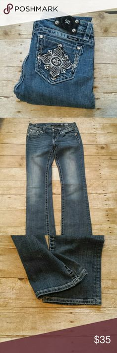 """Miss Me Boot Cut Bling Jeans! Miss Me Boot Cut Bling Jeans! Size 28, Inseam 34"""". Missing a rivet! Price reflects this. Miss Me Jeans Boot Cut"""