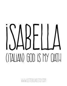 Isabella Name Meaning Printable Nursery Art Baby by LetterLuxe