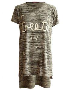 Grey Create Print Side Split Cut T-shirt