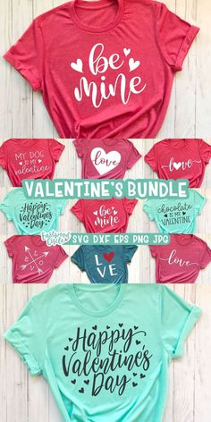 This Valentine SVG bundle works great with the Cricut and Silhouette Cameo for crafters to make DIY projects such as shirts, signs, mugs, and more! Works great with heat transfer vinyl. Valentines Day Shirts, Valentine Day Crafts, Diy Valentine's Shirts, Vinyl Shirts, Diy Projects For Beginners, Cricut Creations, Valentine's Day Diy, Shirt Ideas, Silhouette Cameo Vinyl
