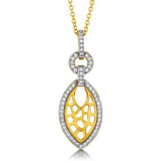 "BERRICLE Gold Plated Sterling Silver CZ Filigree Pendant Necklace 15"""" ($81) ❤ liked on Polyvore featuring jewelry, necklaces, clear, pendant necklace, sterling silver, women's accessories, cubic zirconia pendant, cz necklace, sterling silver chain necklace and anniversary necklace"