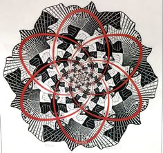 Escher, M. Dutch, 1898 - 1972 Path of Life III 1966 woodcut in red and black, printed from two blocks on japan paper image (diameter): 37 cm in.) sheet: 47 x cm x 17 in. 445 Cornelius Van S. Escher Prints, Escher Art, Mc Escher, Vintage Art Prints, Antique Prints, Fantasy Posters, Z Arts, National Gallery Of Art, Leg Tattoos