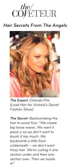 Obsessed with those @Victoria's Secret waves? Us too. Hair secrets this way: www.thecoveteur.com/victorias_secret