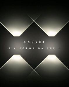 Square: a forma da luz  A linha Square foi desenvolvida a partir do desejo de criar o embutido de teto perfeito. Composta por 42 embutidos em três diferentes modelos, apresenta peças com bordas superfinas, que possibilitam aplicação discreta e delicada no teto, sem dificultar o corte. Todos os produtos da linha são acompanhados por tabela de efeitos, que relaciona o distanciamento da luminária à respectiva altura do facho luminoso, e gabarito para auxiliar na execução do corte perfeito. Ceiling Lights, Lighting, Home Decor, Built Ins, Ceiling, Wish, Line, Products, Stuff Stuff