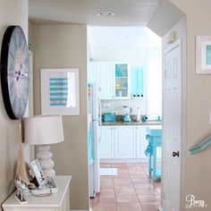 Aqua Blue and White Cottage Decor