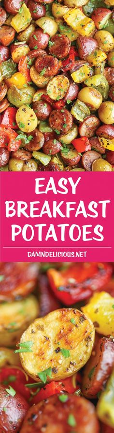 Easy Breakfast Potatoes - The BEST and EASIEST breakfast potatoes ever. No sautéing. No stirring. No fuss. Simply throw everything into the oven. That's it!