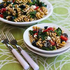 Whole Wheat Pasta Salad with Fried Kale, Tomatoes, Olives, Feta, and Pesto Vinaigrette Recipe