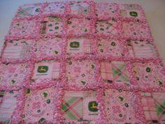 Pink and Green John Deere Baby Girl Rag Quilt Blanket.