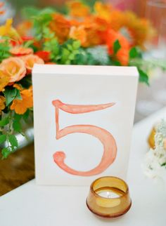 Watercolor table number: photo shoot by Amanda Gray of Ashley Baber Weddings, Photo by Elisa B Photography