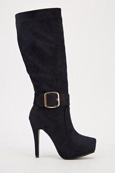 Womens Ladies Dark Navy Faux Suede High Heel Party Knee High Boots Size UK 7 New  #boots #navy #kneehighboots #kneeboots #highheel #highheels #fauxsuede #buckle #zip #platform #party #partyboots #shopping #style #fashion #footwear #forsale #womens #womensfashion #ladies #ebay #ebayseller #ebayshop #ebaystore