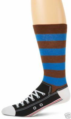 K.Bell Men's Pair Socks Brown Blue Stripe Mens Sneakers Sock New