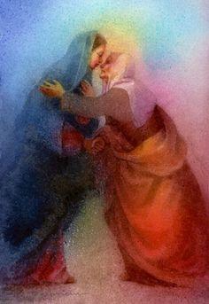 El Antiguo Testamenhto recibe y besa al Nuevo Testamento. En medio de este misterio de fe y amor, dos mujeres pronuncian su FIAT. The Visitation