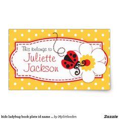kids ladybug book plate id name yellow sticker