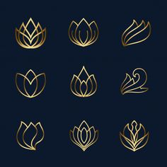 Lotus line icon set Premium Vector Lotus Flower Art, Flower Logo, Illustration Ligne, Massage Logo, Lotus Logo, Yoga Logo, Luxury Logo, Line Icon, Logo Design Inspiration