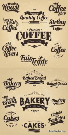 Coffee & Bakery - Vintage Labels