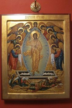 Icon of the Resurrection of Christ. Religious Images, Religious Icons, Religious Art, Byzantine Icons, Byzantine Art, Greek Icons, Church Icon, Russian Icons, Religious Paintings