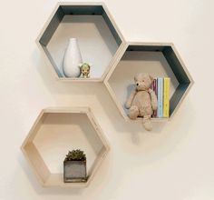 Single /// Sample /// Floating Hexagon Shelf by HandmadeRiot Handmade