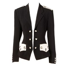 Moschino Couture 90s 1990s Black + White Military-Inspired Blazer Jacket | From a collection of rare vintage jackets at https://www.1stdibs.com/fashion/clothing/jackets/