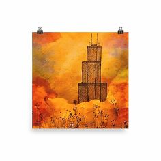 Art Prompts, Just Peachy, Handmade Shop, Original Paintings, Chicago, Tower, United States, Watercolor, Fine Art