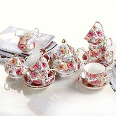Restaurant Dinnerware Dining Set Ceramic Tea//Coffee Set Best for Wedding Gift Sea Green Imperial Rooms 3 Piece Coffee Tea Cup 250 ml with Tray and Spoon