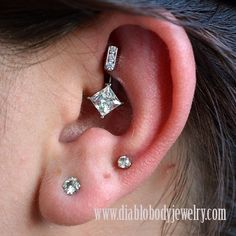 Industrial Strength Titanium 3 Channel-Set Curved Barbell with Princess Star. Rook Piercing