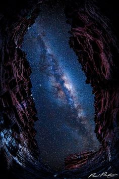 Eye to the Galaxy ~ view through a gorge of a Milky Way night sky, Karijini National Park, Western Australia by Paul Pichugin. The window to the universe. To Infinity And Beyond, Science And Nature, Milky Way, Stargazing, Belle Photo, Night Skies, Beautiful World, National Parks, Western Australia