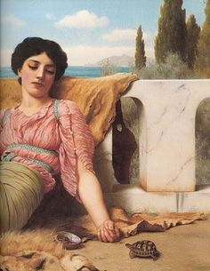 That turtle is gonna bite your finger off!  Girl with a turtle Sir Lawrence Alma Tadema
