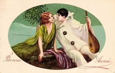 French pierrot New Year card