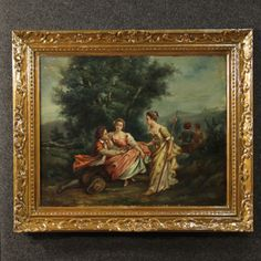 Price: 1450€ French painting of the second half of the 19th century. Work of art oil on canvas depicting the pretty landscape with gallant scene. Frame of the 20th century made by carved wood, with some signs of the time. Romantic-style painting. Painting internal measure: H 50 cm x W 62 cm. Painting in good state of conservation, with some signs of aging. #antiques #antiquariato Visit our website www.parino.it