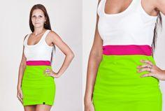 Dámské neonové trojdílné letní šaty v mnoha barevných variantách