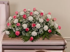 Pink Roses & White Carnations Casket Spray