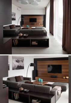 8 TV Wall Design Ideas For Your Living Room // The white wall with the black half wall and the wooden panel create a frame around this TV that makes it the center of attention.