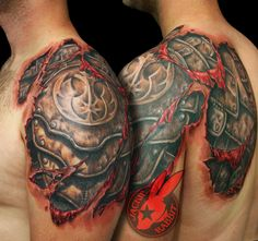 Star Wars rebel symbol armor tear out realistic 3d tattoo by Jackie Rabbit