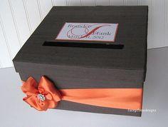 Wedding Card Box Charcoal Grey and Orange - You customize colors wedding