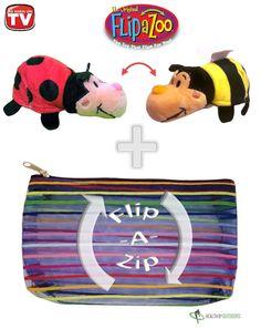 """Flipzee 5"""" & FlipaZip COMBO ( Ladybug / Bee ) Huggable Flip a Zoo Stuffed Animal is 2 Zoo Pets in 1"""