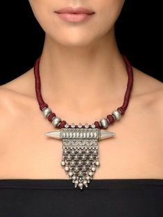Maroon Thread Vintage Silver Necklace with Taveez Design