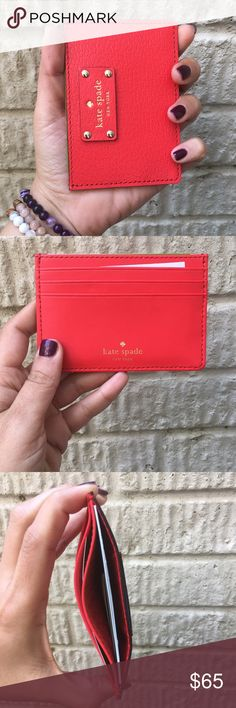 NWT Kate Spade Card Wallet Kate spade card wallet  Open slip pocket at top 3 card slots on the back Leather card holder with gold tone hardware and logo Approx. dimensions: 4.25 in L x 3 in H x 0.25 in W at the base kate spade Bags Wallets