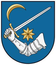 Kinizsi Pál címere Crests, Silhouette Design, Coat Of Arms, Hungary, Symbols, History, Flags, Families, Figurine
