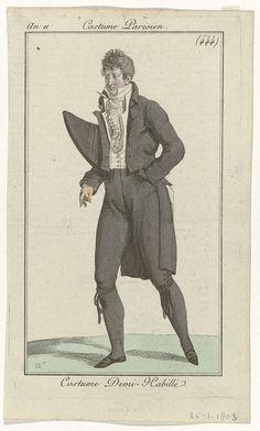 Pierre Charles Baquoy | Journal des Dames et des Modes: Men's Fashion, Pierre Charles Baquoy, Pierre de la Mésangère, 1803 | Man in een kostuum 'Demi-Habillé'. Hij draagt een frak, vest en kniebroek. Hemd, cravate, gerimpelde jabot en kousen. Accessoires: steek(?) onder de arm, handschoen, zakdoek(?), platte schoenen met vierkante gespen. De linkerhand in de broekzak. De prent maakt deel uit van het modetijdschrift Journal des Dames et des Modes, uitgegeven door Pierre de la Mésangère…