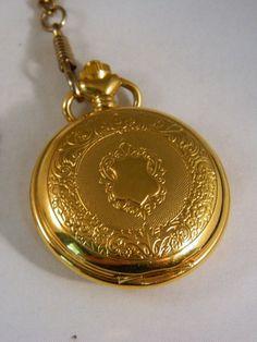 Pocket Watch / Vintage Majestron Gold Ornate Watch / Watch Fob / Day of the Week Pocket Watch by VintageBaublesnBits on Etsy