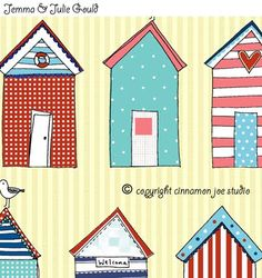 Cinnamon Joe Studio flyer for Surtex Seaside Art, Seaside Bathroom, Beach Huts Art, Wall Decor Online, Illustration, Beach Print, Kids Prints, Textile Art, Bunt