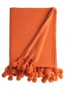 Karma Living Orange Tangerine Pom Pom Throw Blanket