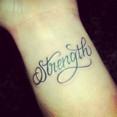 50 More strength tattoo ideas wrist - - stärke tattoo ideen handgelenk Wörter Tattoos, Neue Tattoos, Word Tattoos, Trendy Tattoos, Body Art Tattoos, Small Tattoos, Strength Tattoos, Strength Tattoo Designs, Diy Tattoo