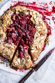 lavender honey and raspberry rhubarb galette/half baked harvest Just Desserts, Dessert Recipes, Dessert Food, Vegan Desserts, Rhubarb Galette, Raspberry Rhubarb, Rhubarb Recipes, Half Baked Harvest, Sweet Tarts
