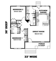 Cottage Style House Plans - 1073 Square Foot Home 1 Story 2 Bedroom and 2 3 Bath 0 Garage Stalls by Monster House Plans - Plan 2 Bedroom House Plans, Cottage Floor Plans, Small House Floor Plans, Cottage Style House Plans, Cabin House Plans, Simple House Plans, Tiny House Cabin, Small Cottage Plans, Br House