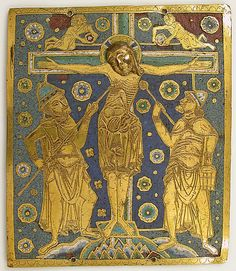 Plaque with the Crucifixion between Longinus and Stephaton and Personifications of the Sun and Moon  Date:     ca. 1200 Geography:     Made in Westphalia, Germany Culture:     German Medium:     Champlevé enamel, copper Dimensions:     Overall: 9 1/16 x 7 11/16 x 5/16 in. (23 x 19.5 x 0.8 cm) Classification:     Enamels Credit Line:     Gift of J. Pierpont Morgan, 1917 Accession Number:     17.190.448 Metropolitan Museum of Art, New York