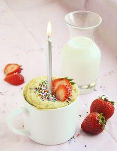 Strawberry Shortcake in a Mug - gluten-free, refined sugar free.