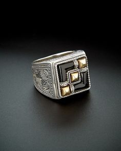 Konstantino Men's Prometheus Silver & Bronze 3.00 ct. tw. Onyx Etched Ring is on Rue. Shop it now.