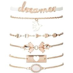 Charlotte Russe Dreamer Layering Bracelets - 6 Pack ($4.19) ❤ liked on Polyvore featuring jewelry, bracelets, gold, bow jewelry, charlotte russe, charm bangle, charlotte russe jewelry and layered jewelry